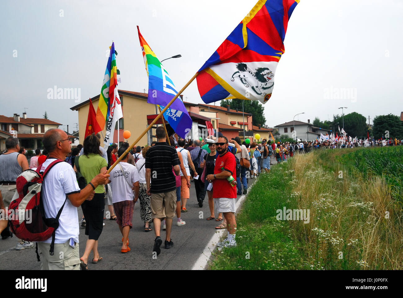 Vicenza, Veneto, Italy. Manifestation against the realization of the new US military base at the airport Dal Molin, - Stock Image