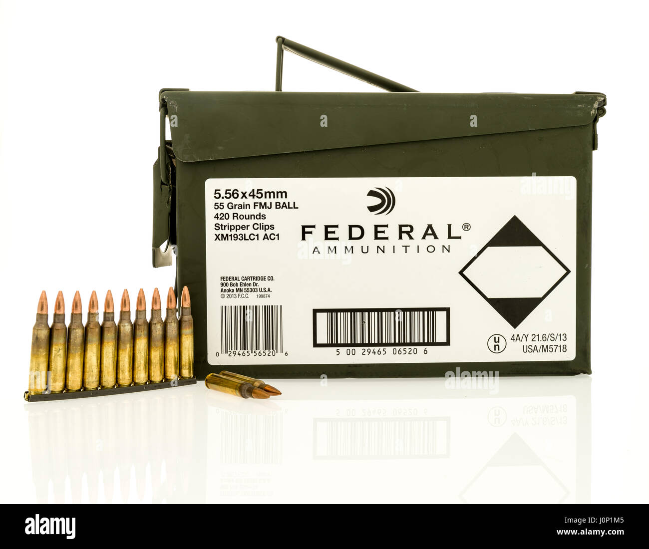 Winneconne, WI - 8 April 2017: An ammo can of  Federal ammunition with bullets on an isolated background. - Stock Image