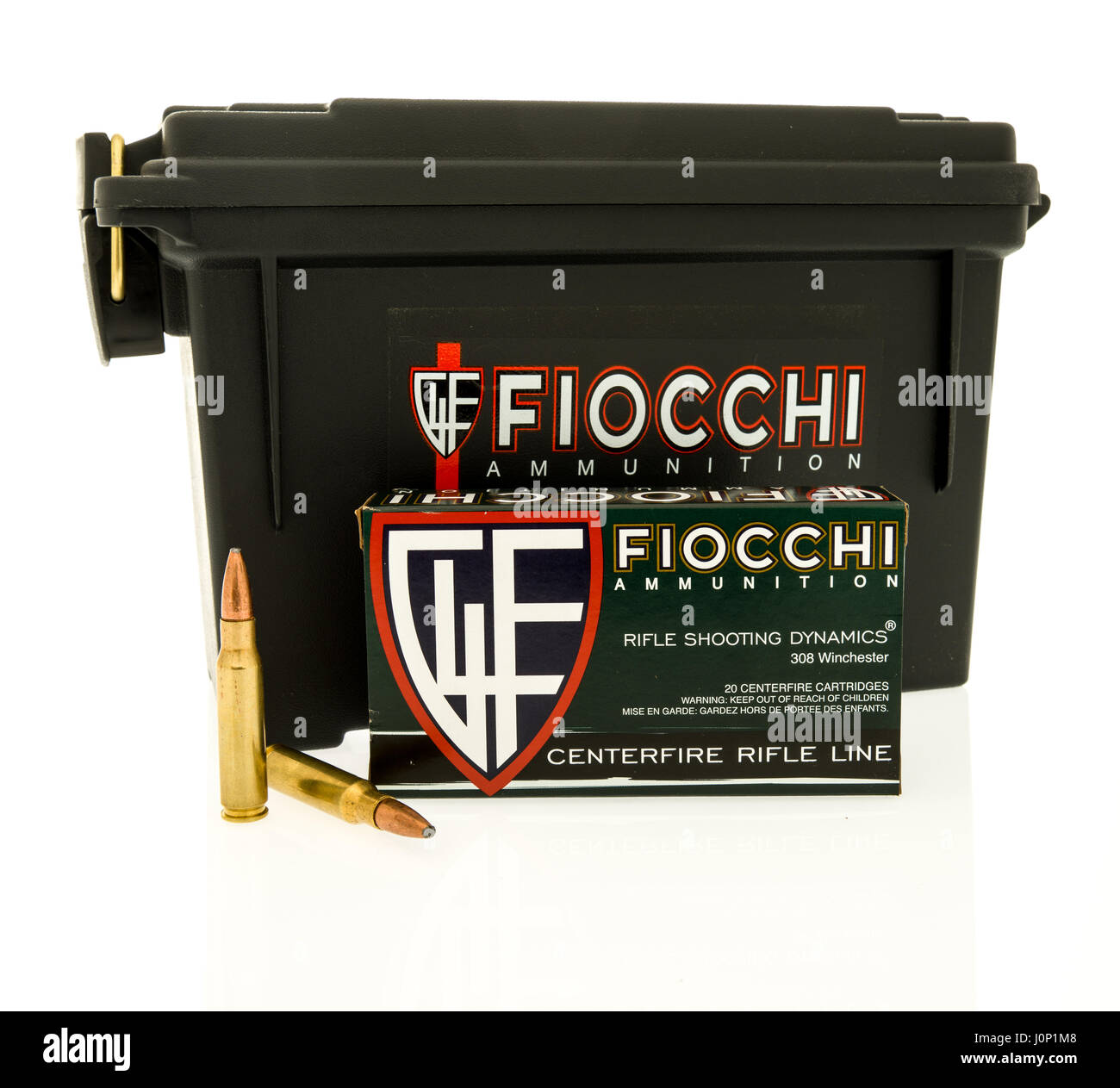Winneconne, WI - 8 April 2017: An ammo can of  Fiocchi ammunition with bullets on an isolated background. - Stock Image