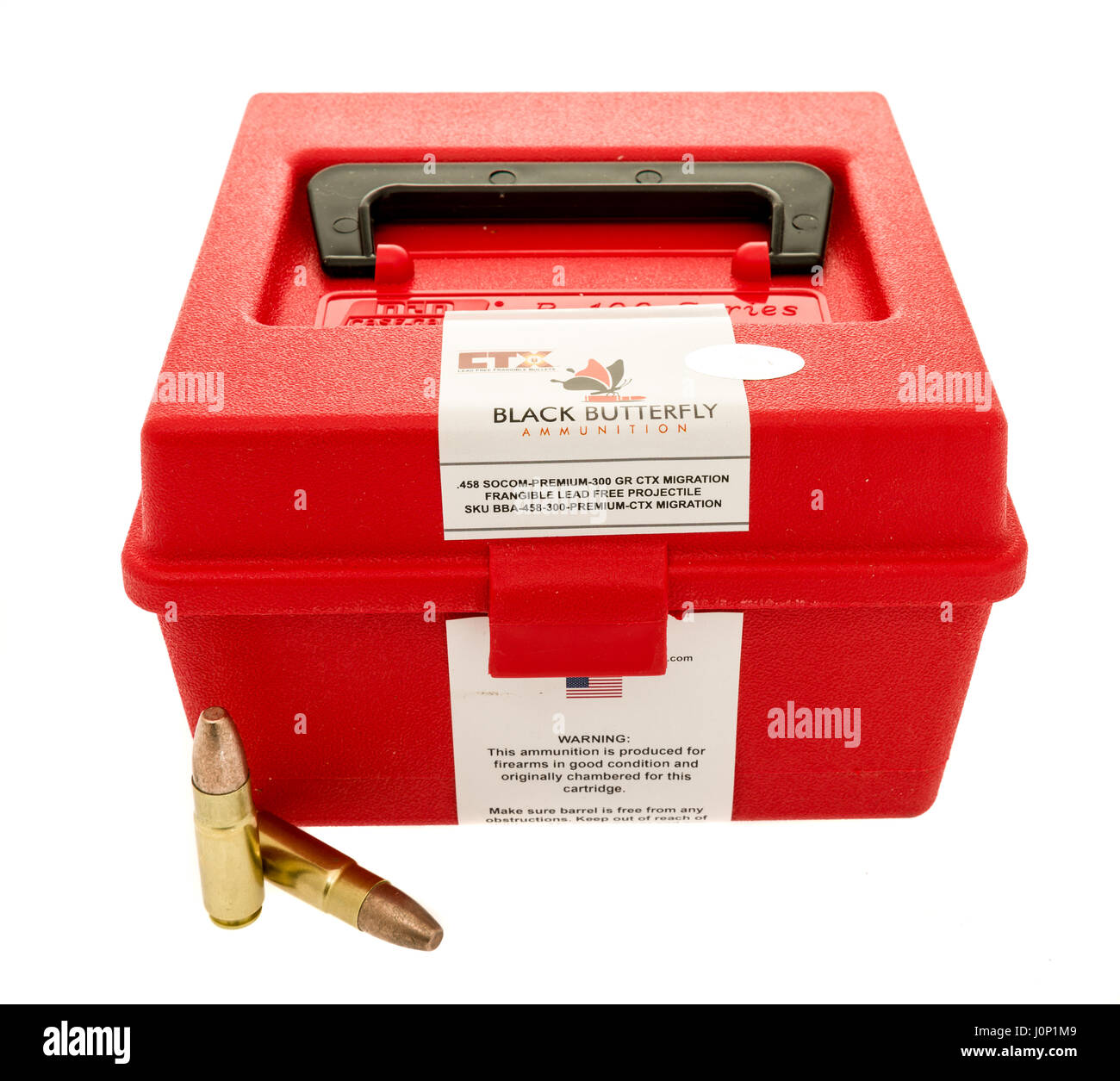 Winneconne, WI - 8 April 2017: An ammo can of  Black Butterfly 458 SOCOM ammunition with bullets on an isolated - Stock Image