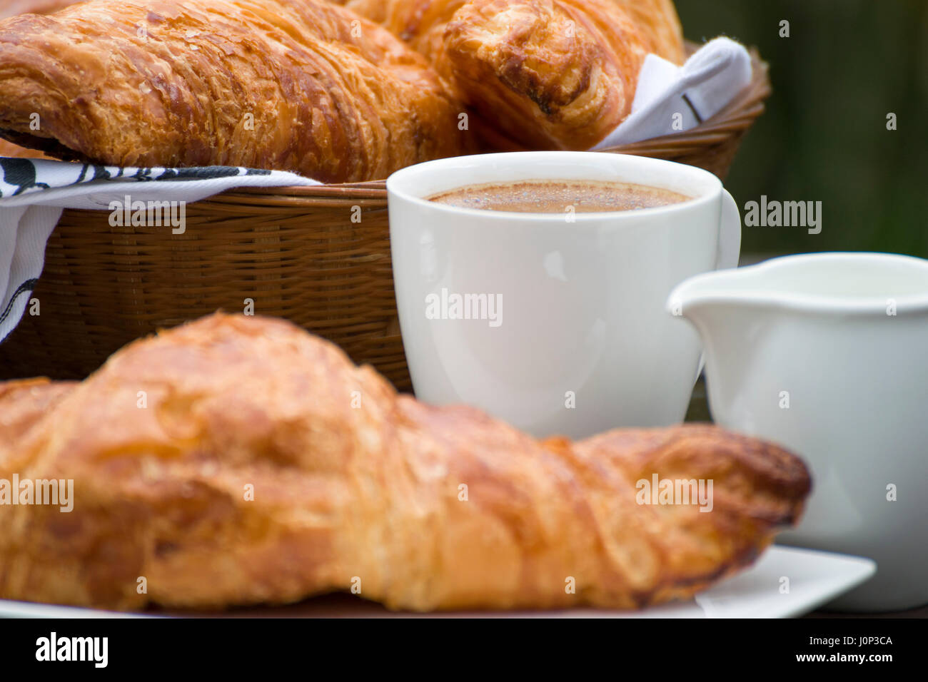 Coffee, milk and croissants - Stock Image