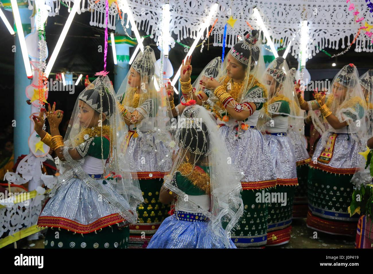 Girls from the Monipuri ethnic community perform dances during Ras Leela festival, in Madhabpur, Maulvi bazar, Bangladesh. - Stock Image