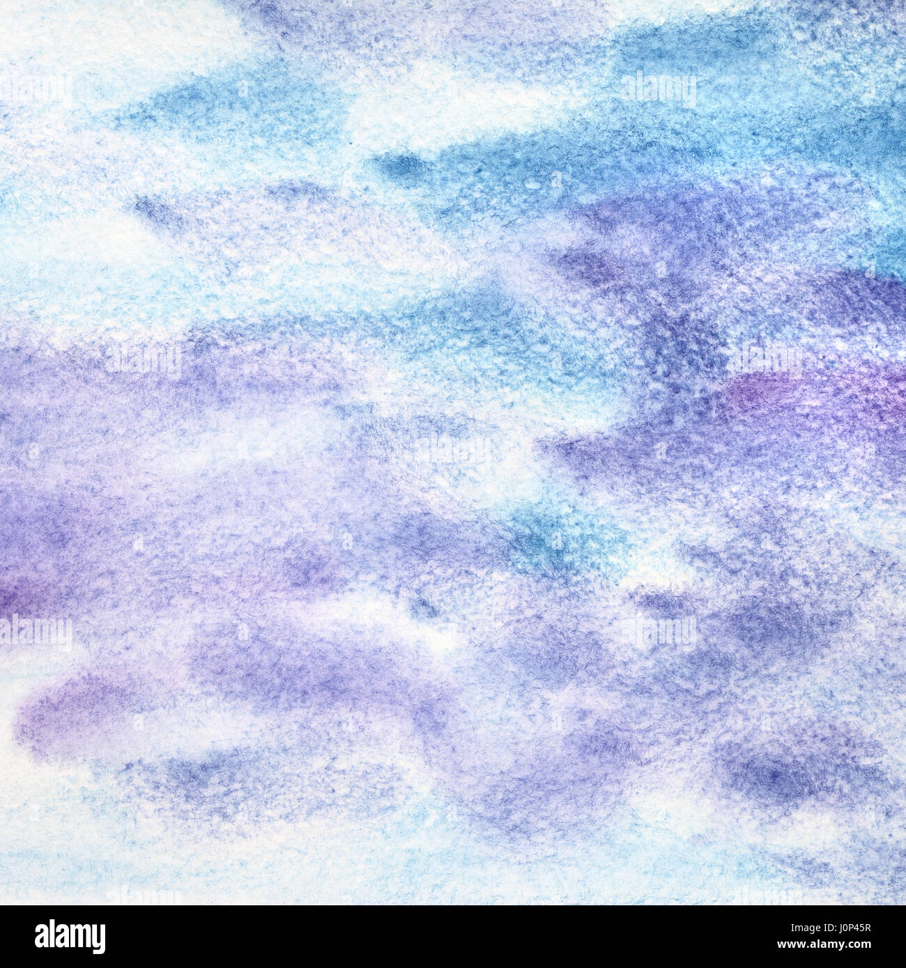 Blue violet watercolor abstract background with strokes - Stock Image