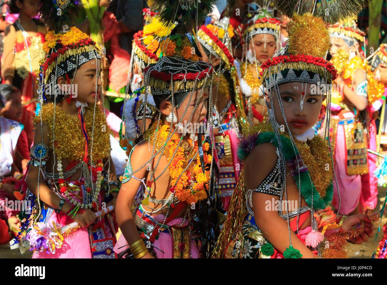 Manipuri boys perform dances during Ras Leela festival, in Madhabpur, Maulvi bazar, Bangladesh. The Bishnupriya - Stock Image