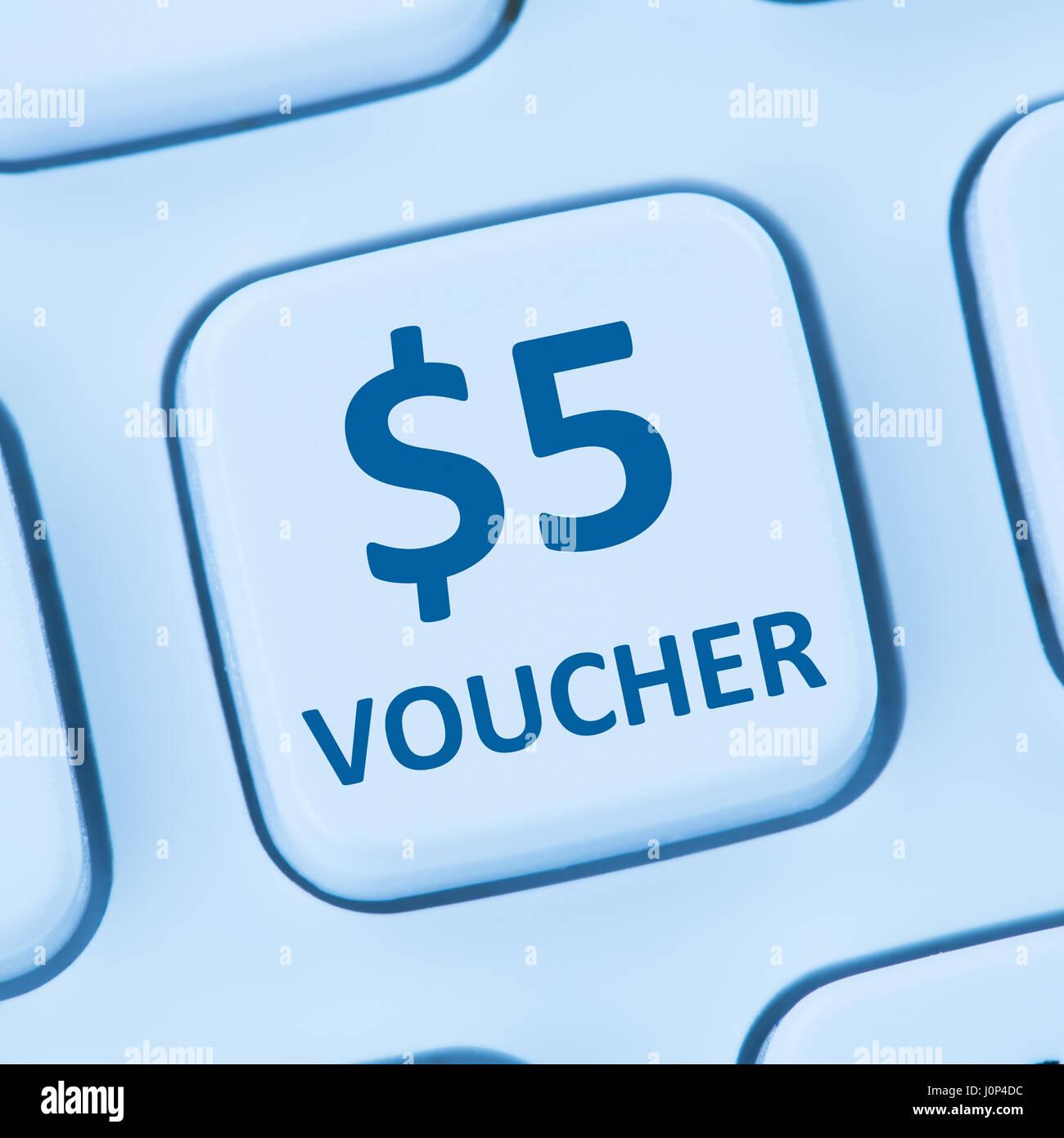 5 Dollar Voucher Gift Discount Sale Online Shopping Internet Store Shop Computer
