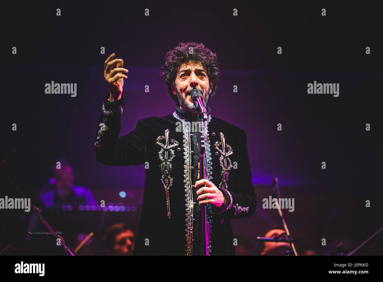 """Turin, Italy. 14th Apr, 2017. Max GazzŽ performed at the Auditorium Lingotto for his """"Alchemaya"""" tour concert. Credit: Stock Photo"""