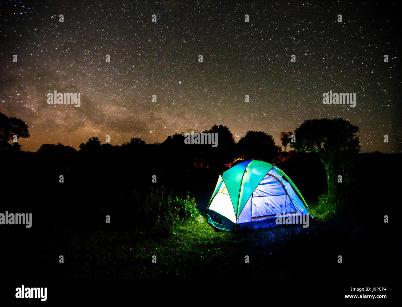 Camping Tent Under Night Sky Stars With Milky Way Background