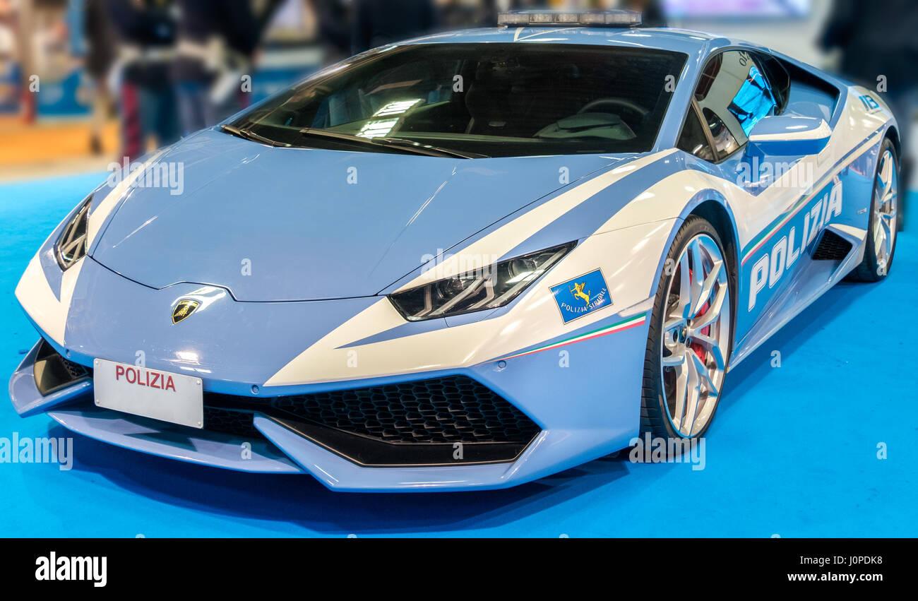 Police sport car Lamborghini italian model blue color - Stock Image