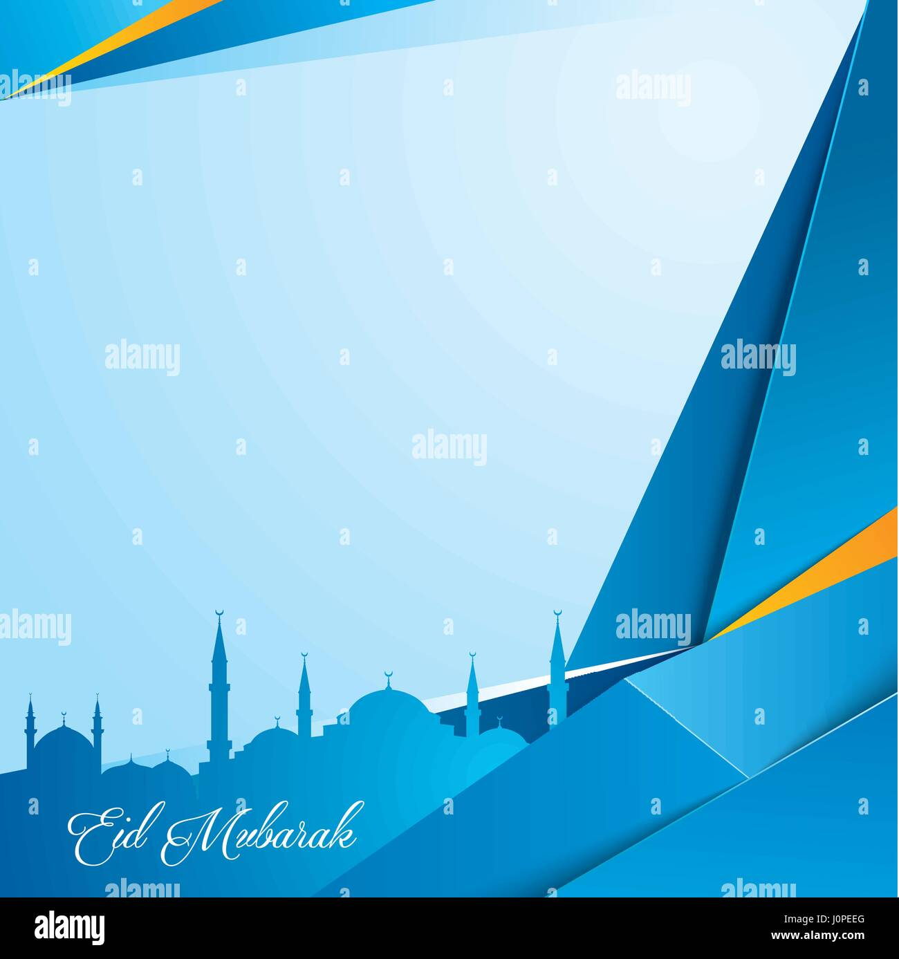 Islamic Background With Mosque Silhouette For Greeting Template Eid