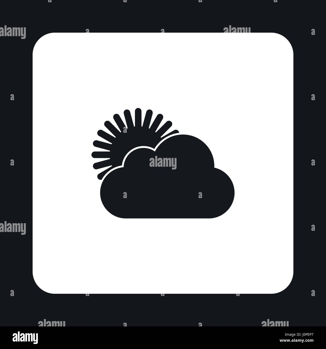 The sun appears from behind the clouds icon - Stock Vector