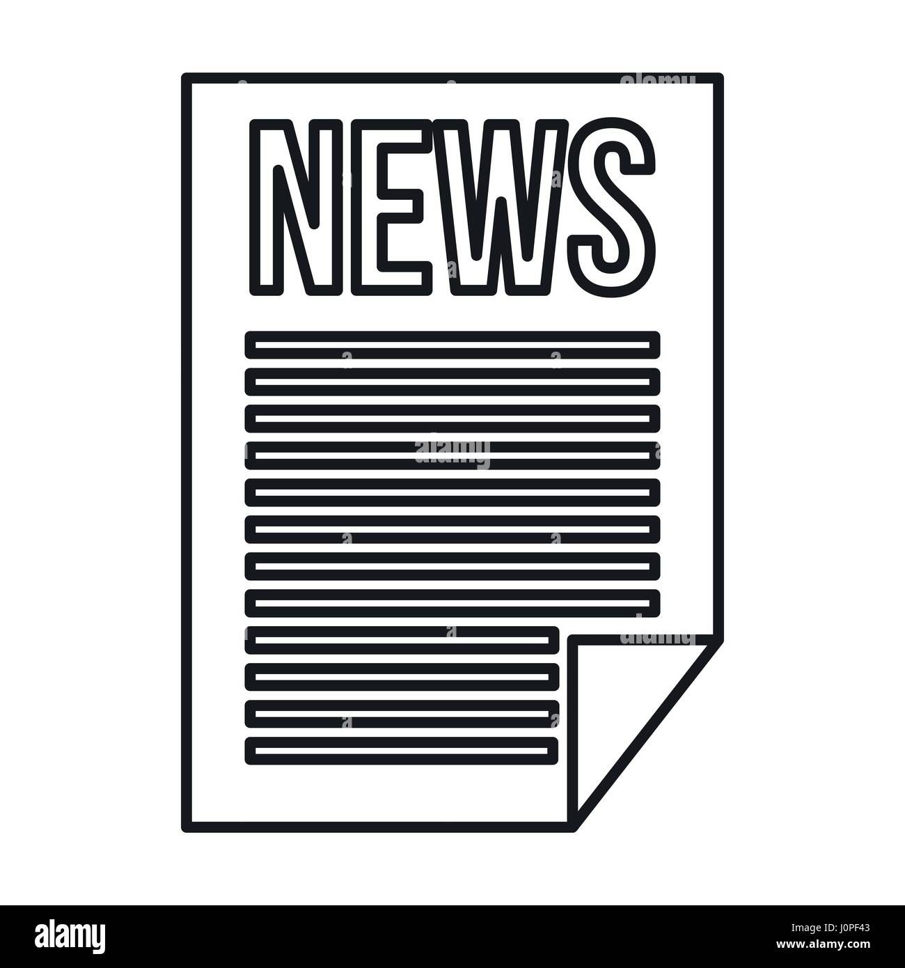 Newspaper Icon Outline Style