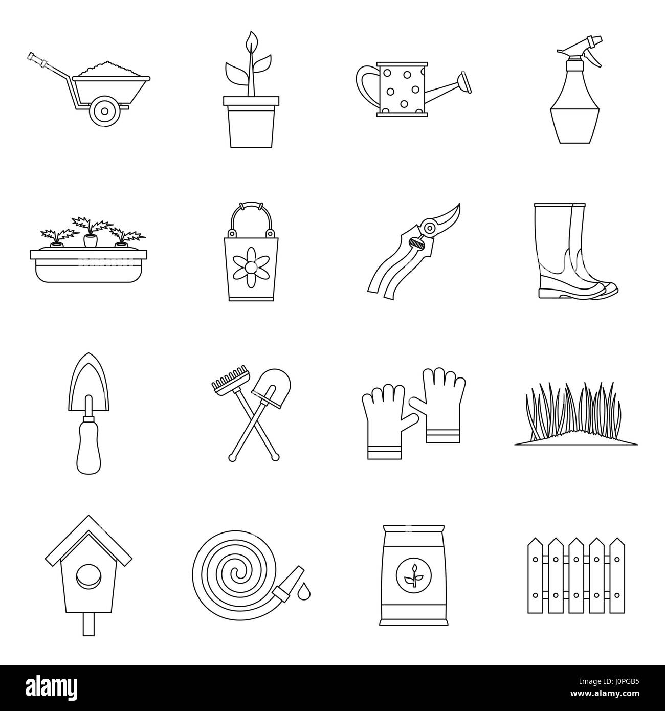Gardening icons set, outline style Stock Vector