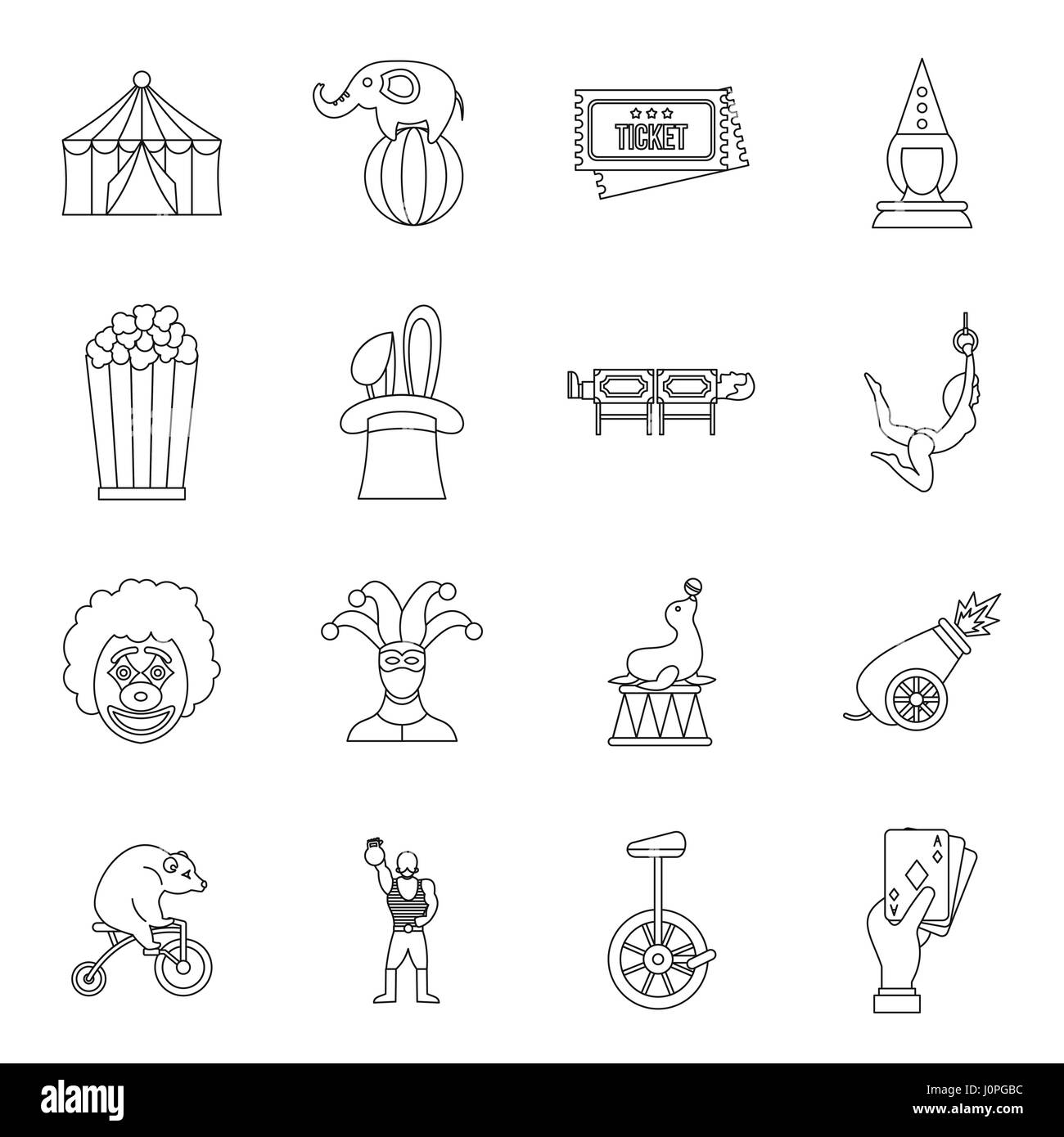 Circus entertainment icons set, outline style - Stock Image