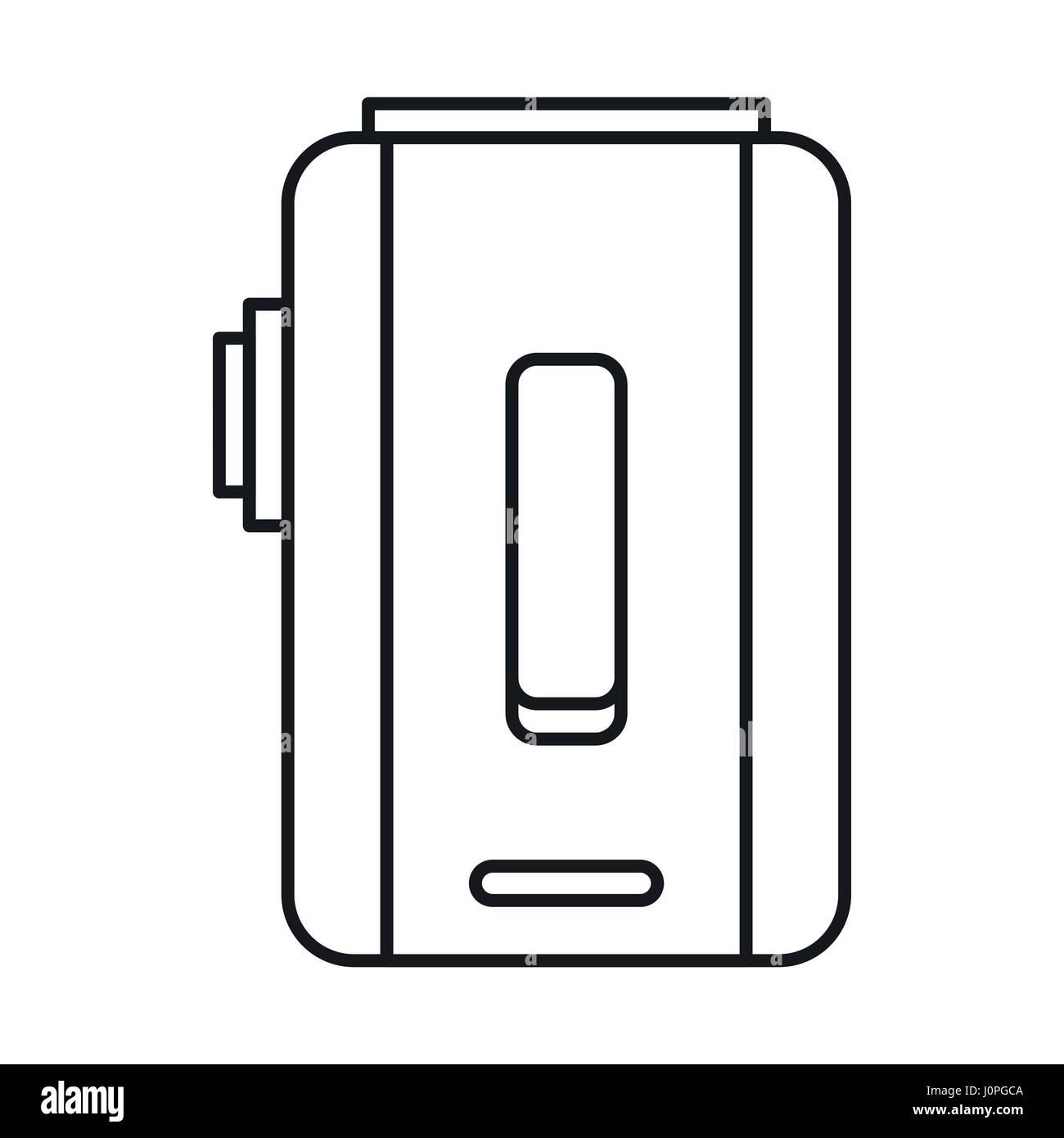 Box mod e-cigarette icon, outline style - Stock Image