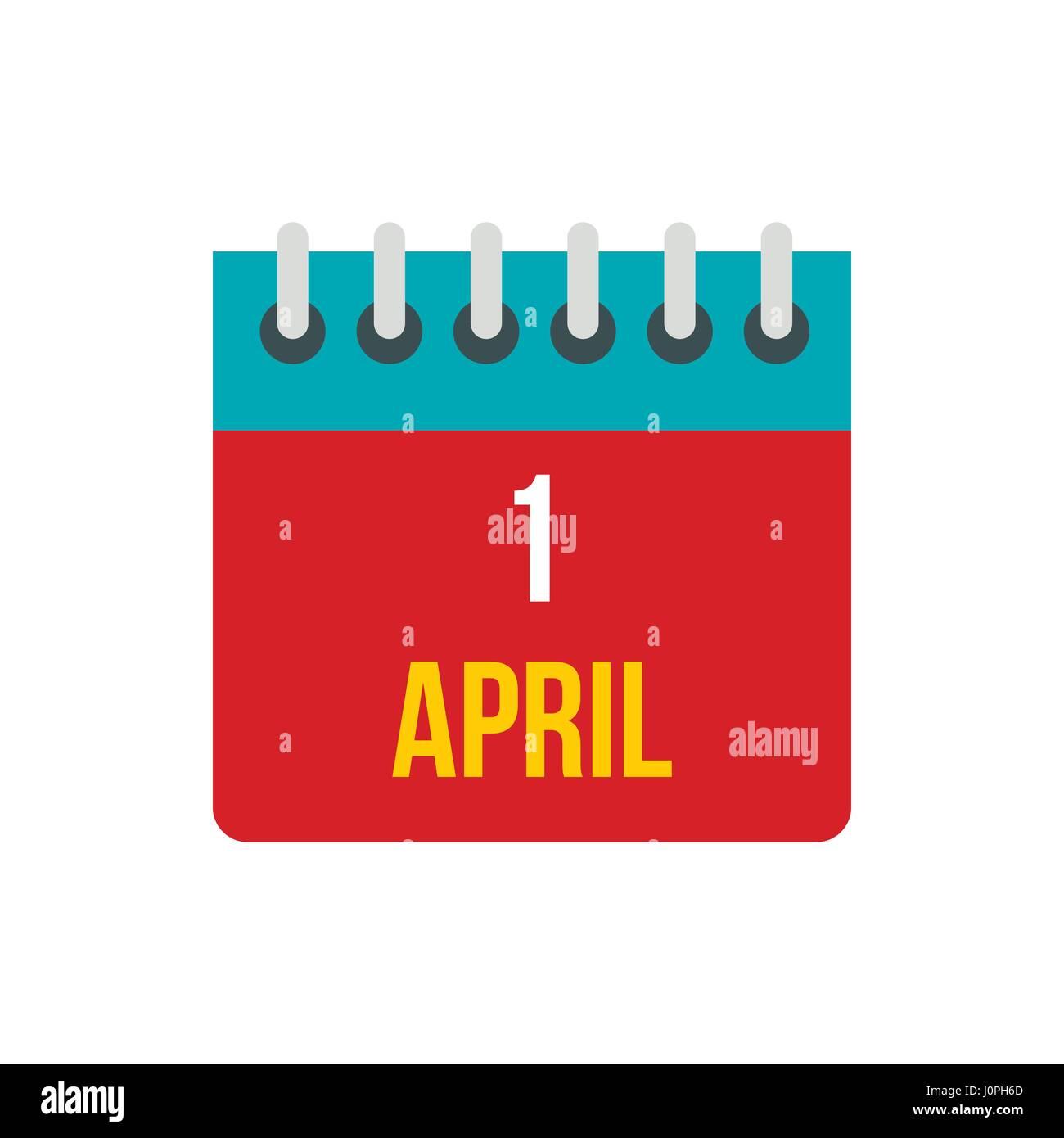 Calendar April 1 icon, flat style - Stock Image