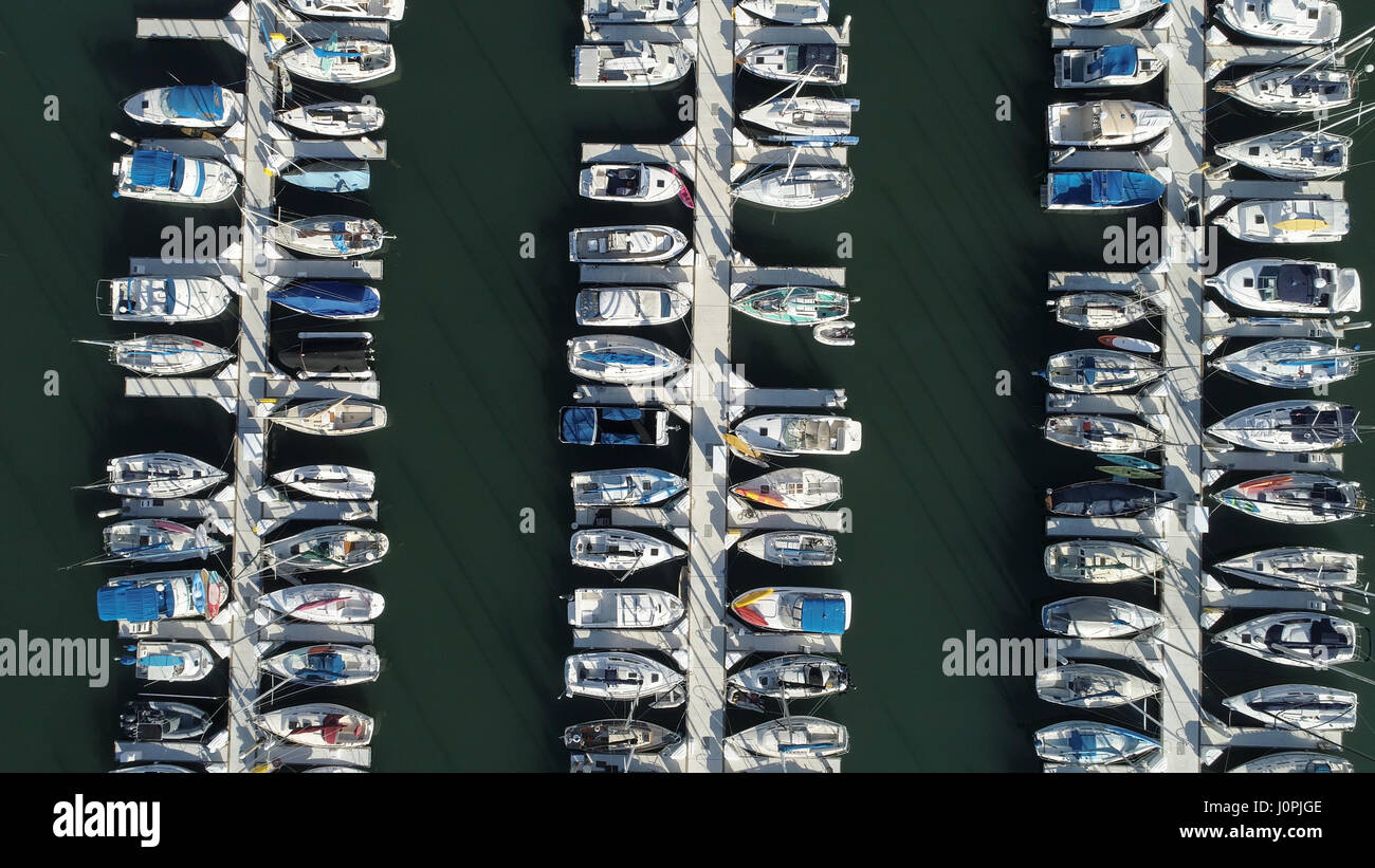 High angle view of yatchs moored in the harbor - Stock Image