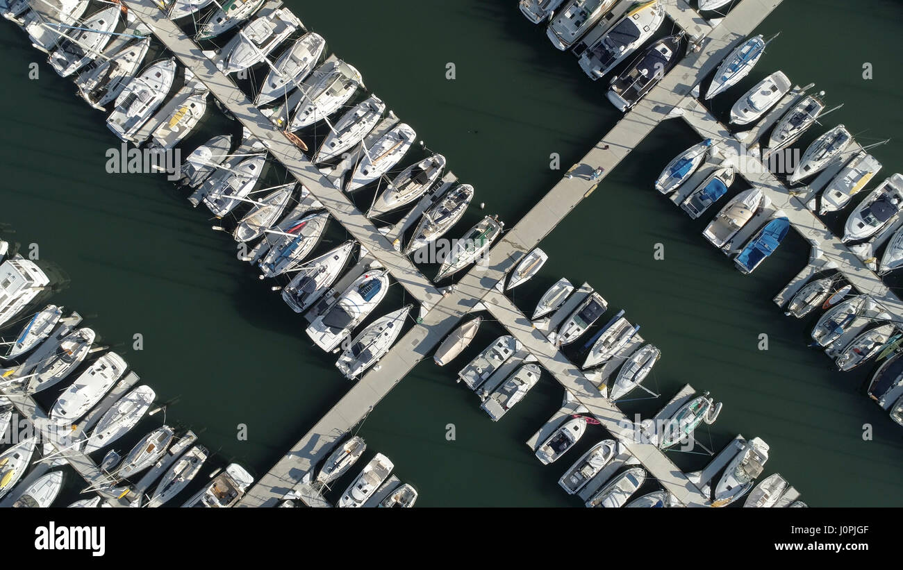 Birds eye view of yatchs moored in the harbor - Stock Image