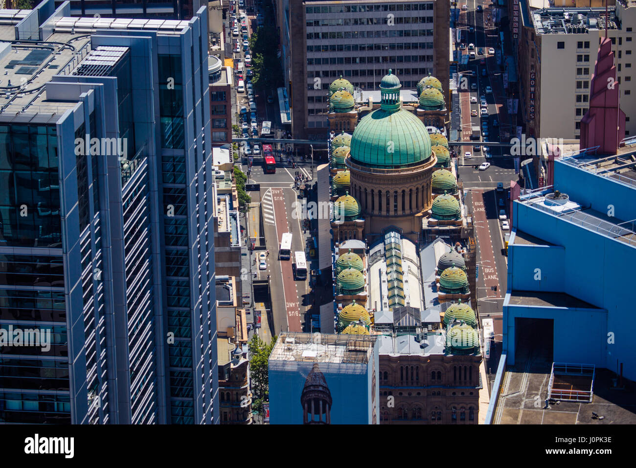 A top view of the Queen Victoria building in the centre of Sydney Stock Photo
