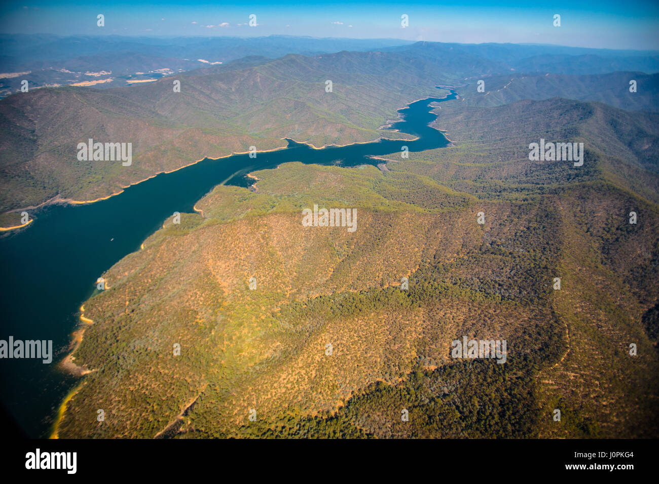 An aerial shot of Lake Dartmouth in the Great Dividing Range, Australia - Stock Image