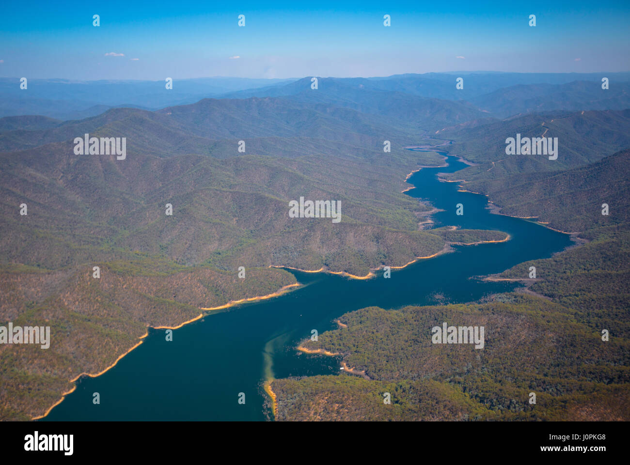 An aerial view of the water level in Lake Dartmouth, Australia - Stock Image