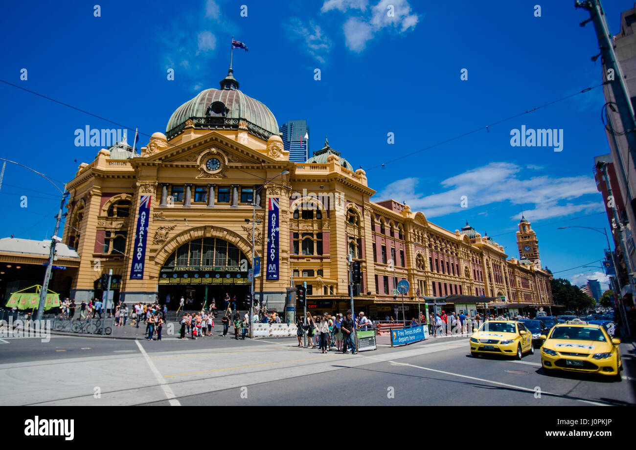 Australia´s first ever railway station, built in French Renaissance in the early 1900´s, Melbourne. Australia - Stock Image