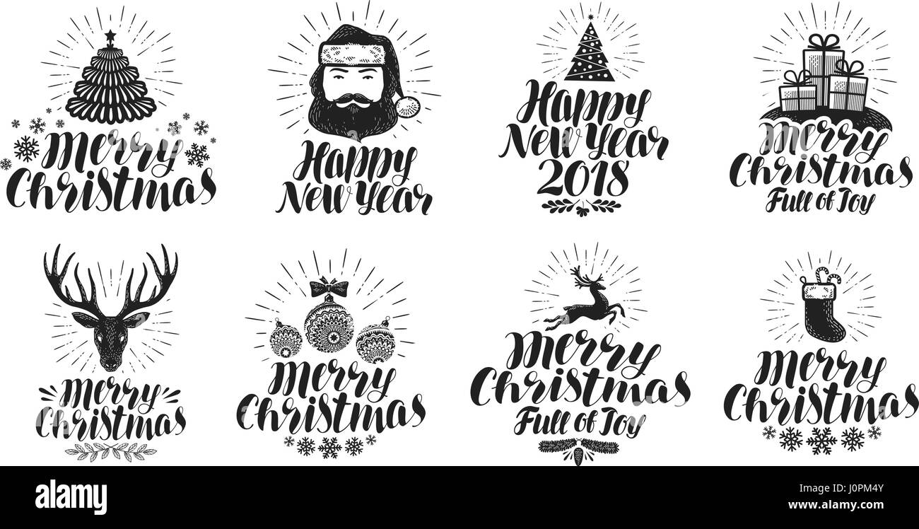 merry christmas and happy new year label set xmas holiday icons or logos lettering vector illustration