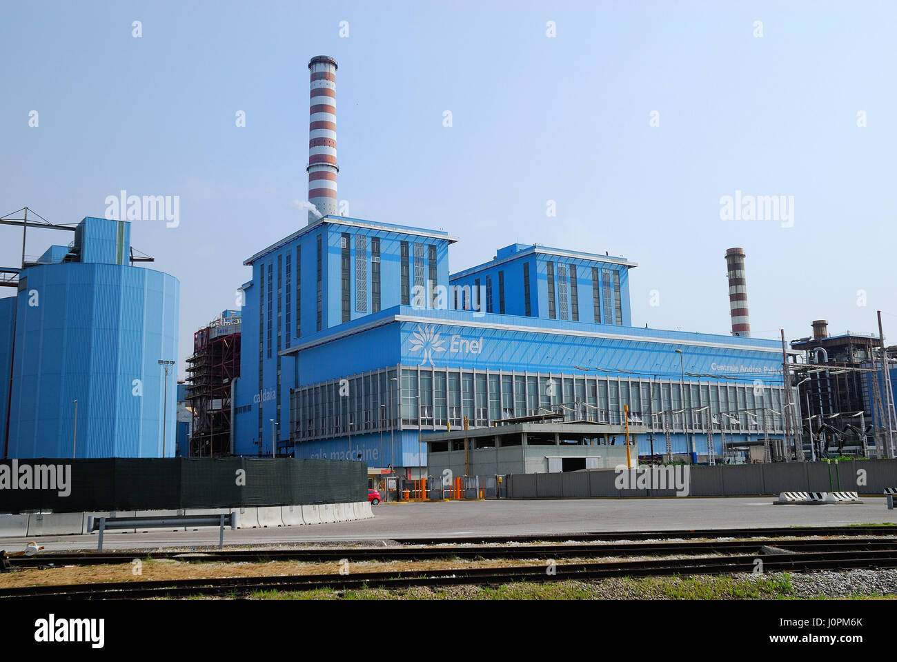 Andrea Palladio power plant is owned by ENEL. It is a polyfuel power plant located in Fusina near Venice. The power Stock Photo