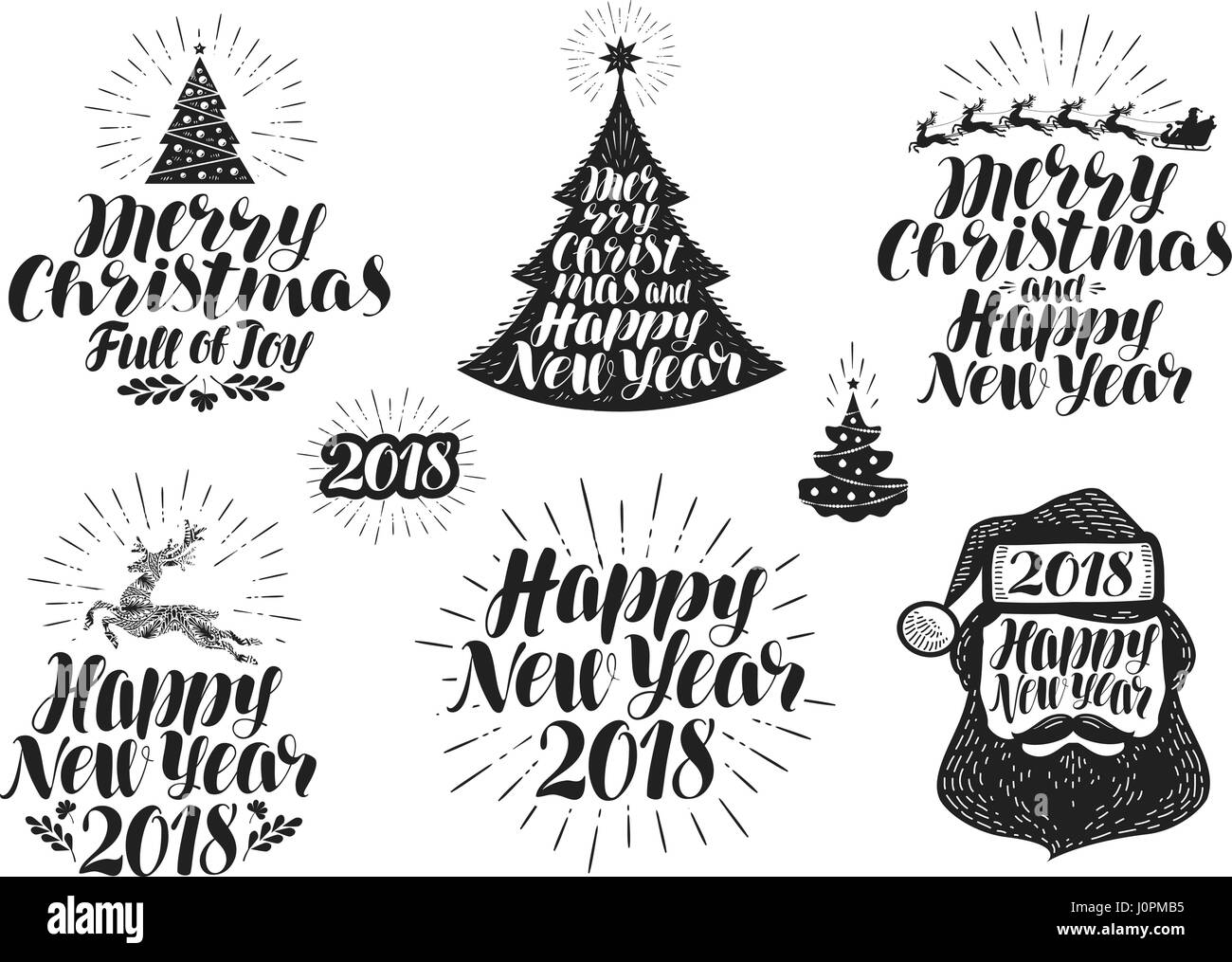 merry christmas and happy new year label set xmas holiday icon or logo lettering vector illustration