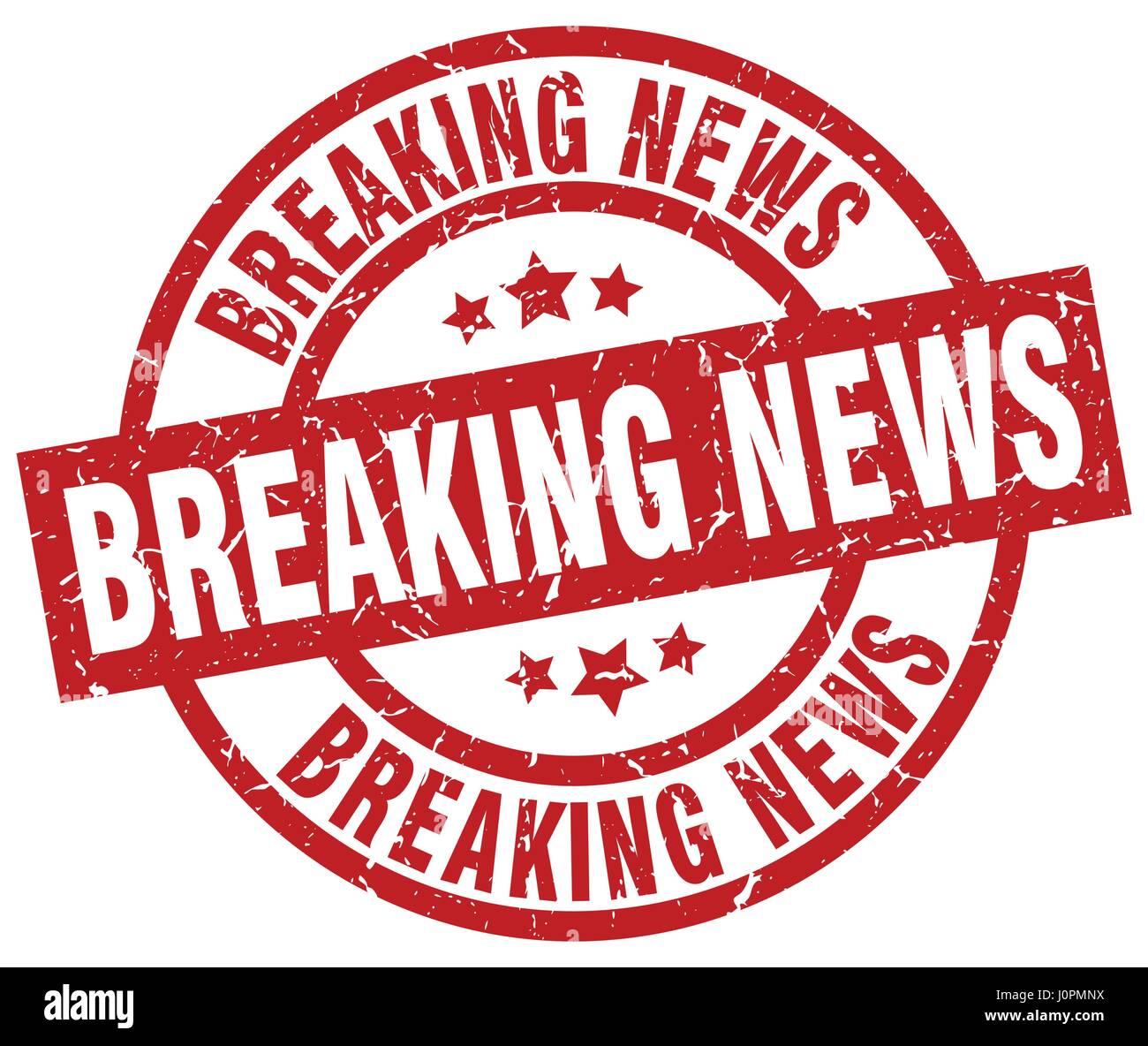 Breaking News Round Red Grunge Stamp