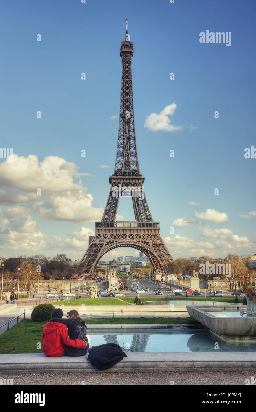 Couple In Love And Eiffel Tower Paris France Stock Photo Alamy