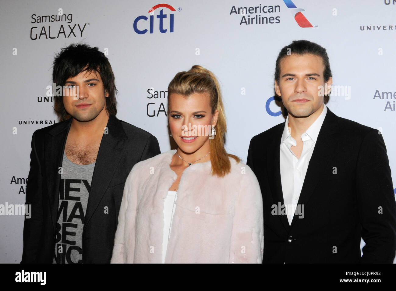 Recording artists Neil Perry, Kimberly Perry, and Reid Perry of music group The Band Perry attend the Universal Stock Photo