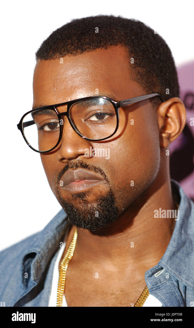 Rapper Kanye West during the BAPESTORE opening in Los Angeles. - Stock Image