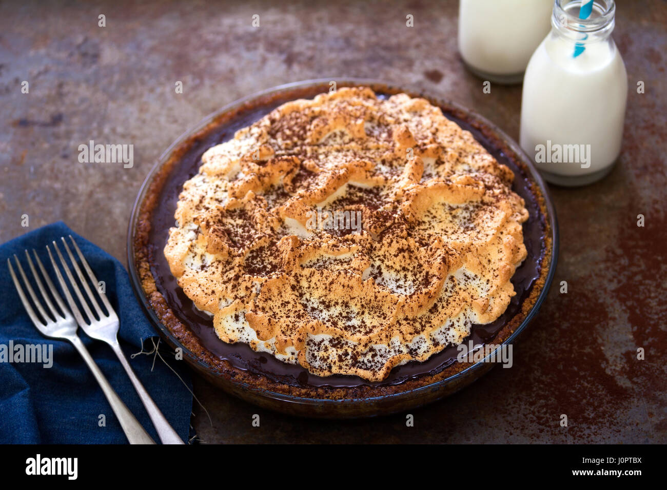 Chocolate meringue pie with cocoa - Stock Image