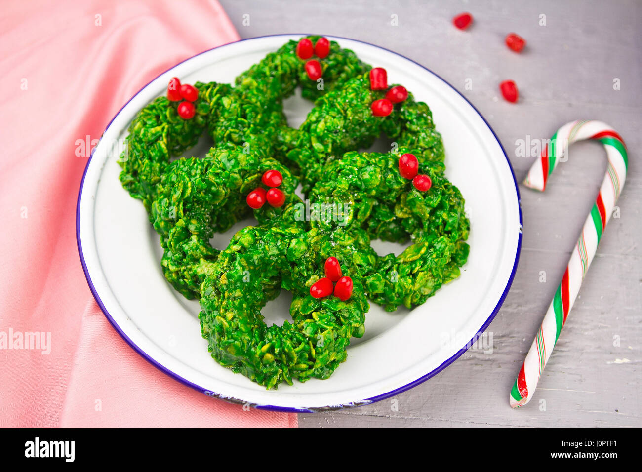 Christmas Wreath Cookies Made Of Cornflakes Green Colourant And