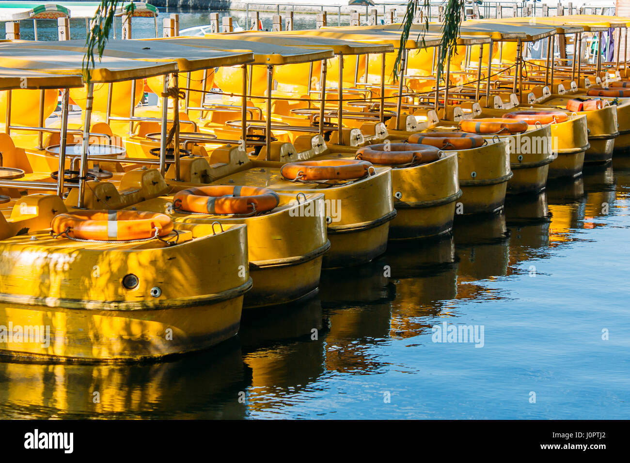 Yellow Boats on Qianhai lake in Shichahai lake of Beijing China Stock Photo
