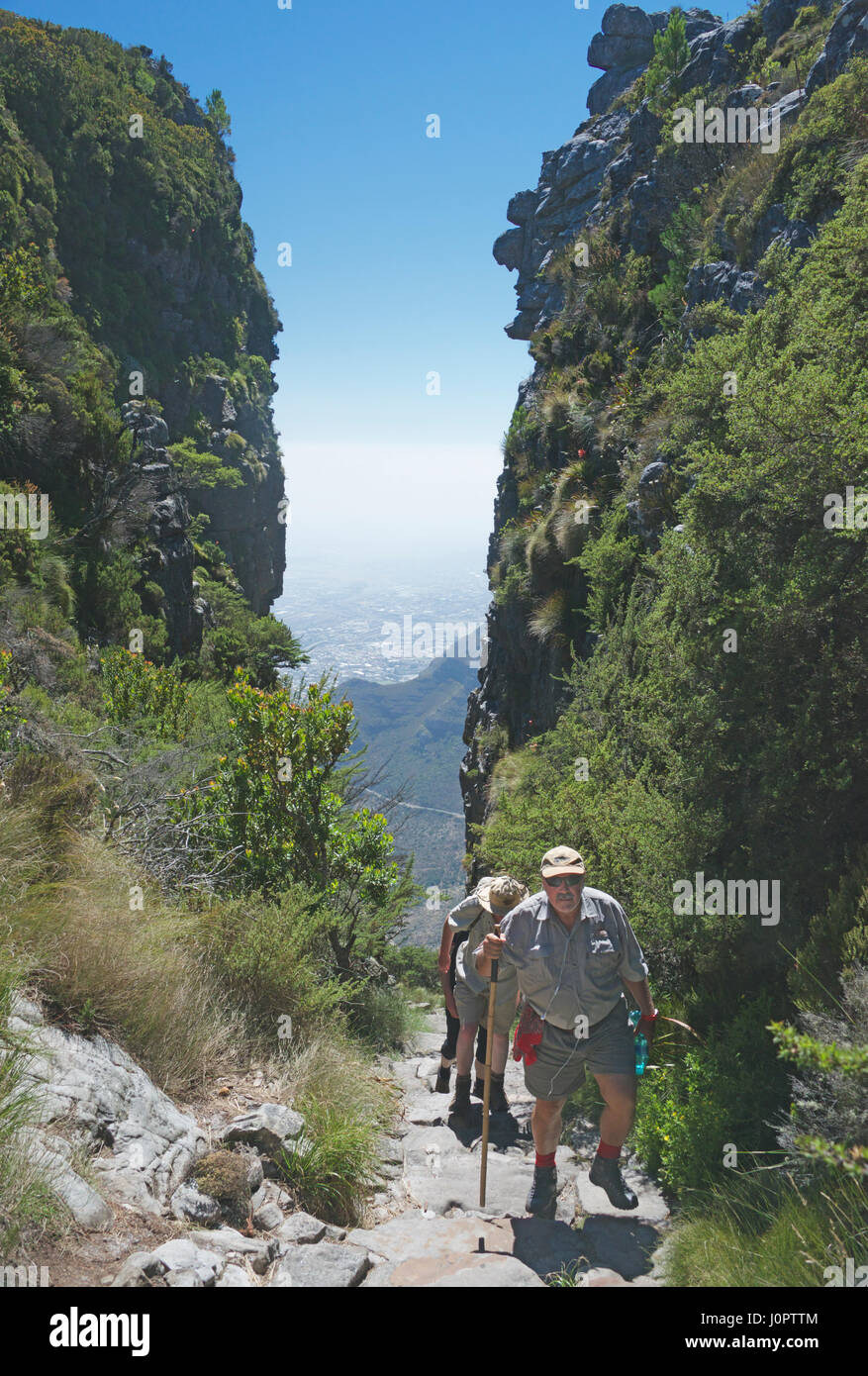People trekking to Table Mountain Cape Town South Africa - Stock Image