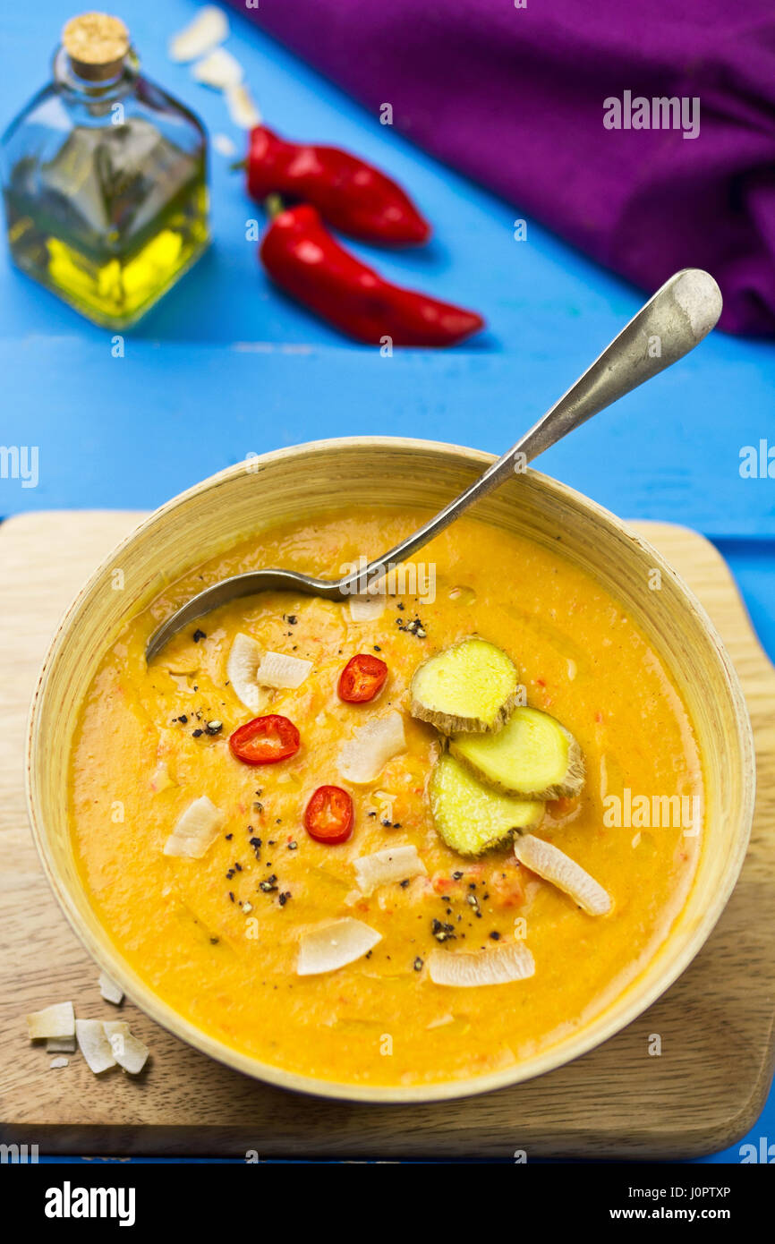 Red lentil, red pepper and coconut soup Stock Photo