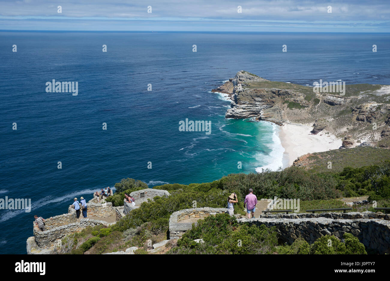 Top view visitors at lookouts and beach Cape Point Cape of Good Hope South Africa - Stock Image