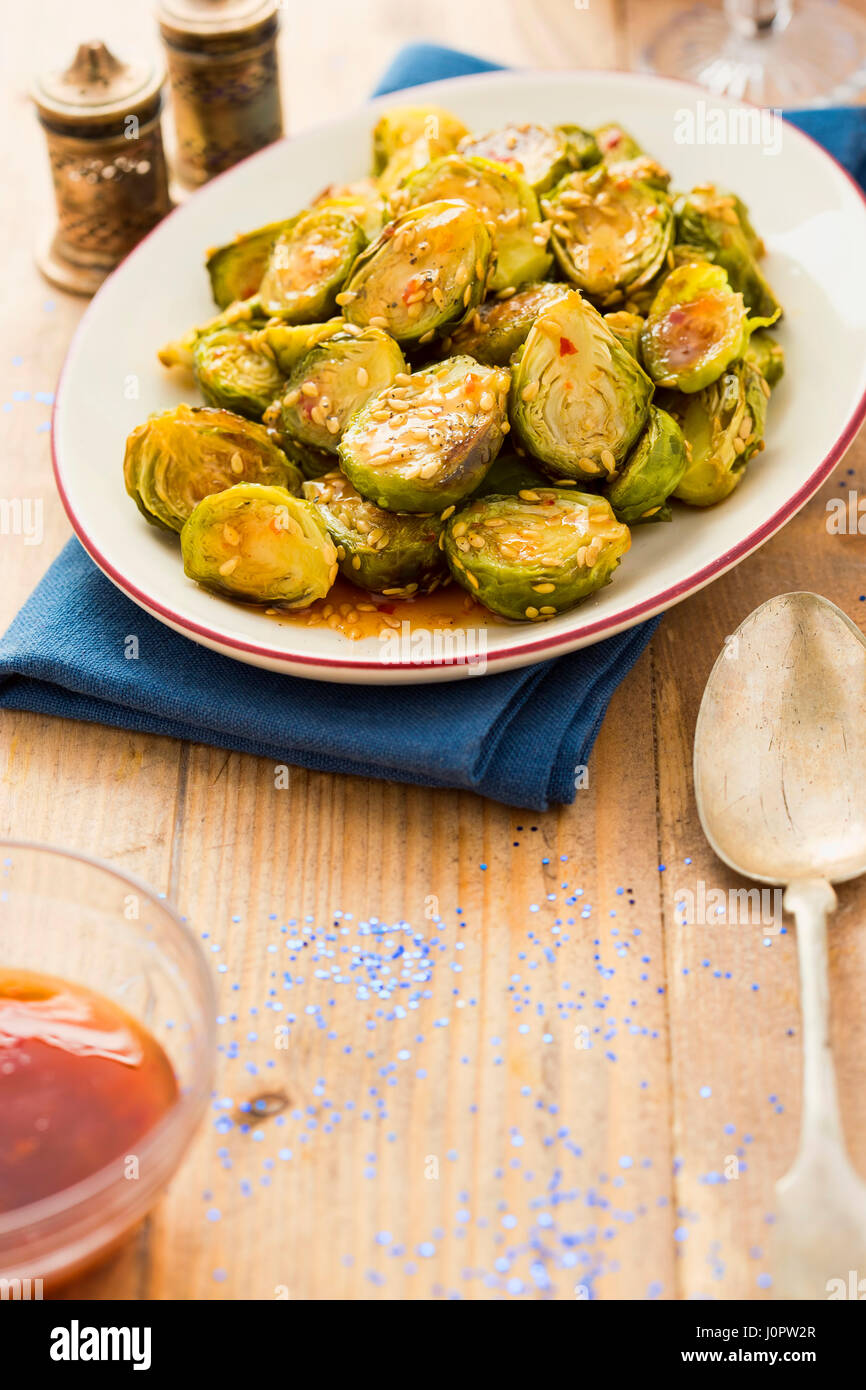 Sweet spicy brussels sprouts - Stock Image