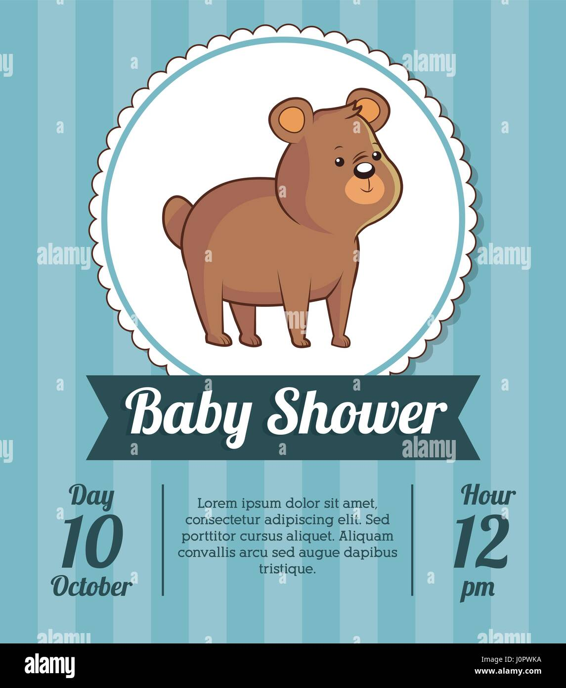 Baby Shower Card Invitation Save Date With Cute Bear Stock Vector