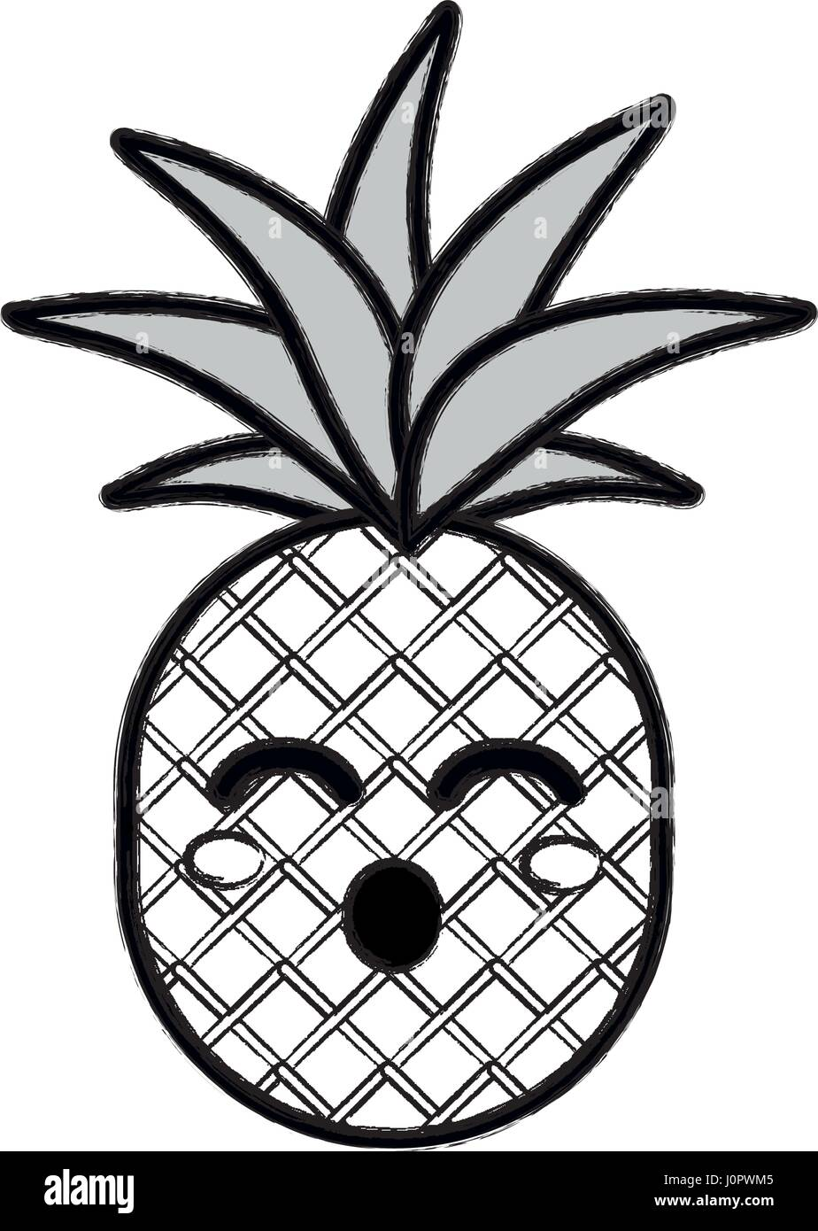Silhouette Kawaii Cute Funny Pineapple Vegetable Stock