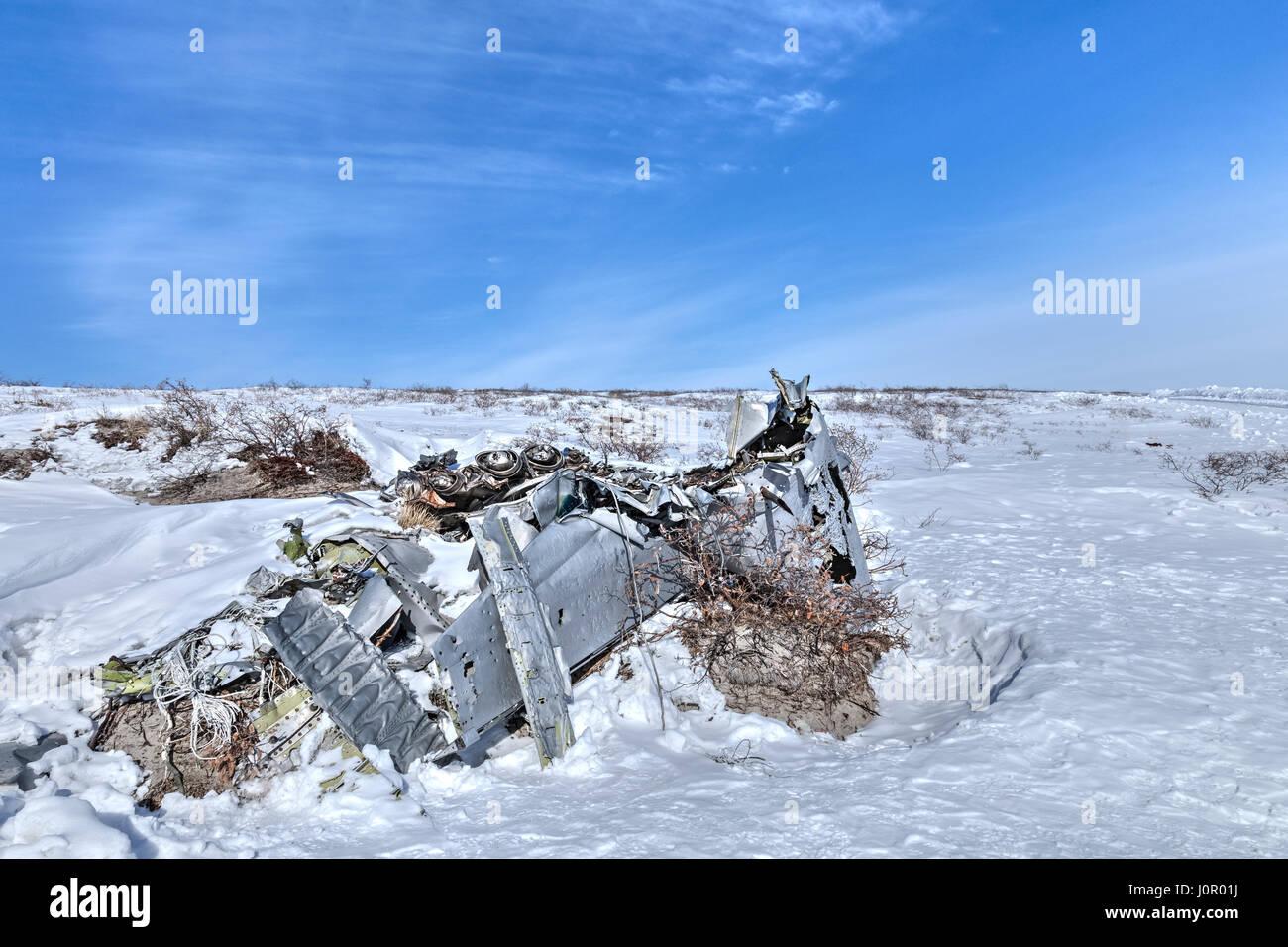 Plane wreck near Kangerlussuaq, Artic Circle, Greenland, Europe Stock Photo