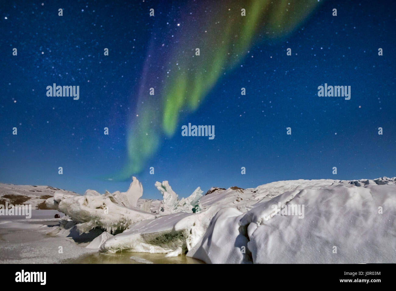 Northern Lights over Russell Glacier, Kangerlussuaq, Artic Circle, Greenland, Europe - Stock Image