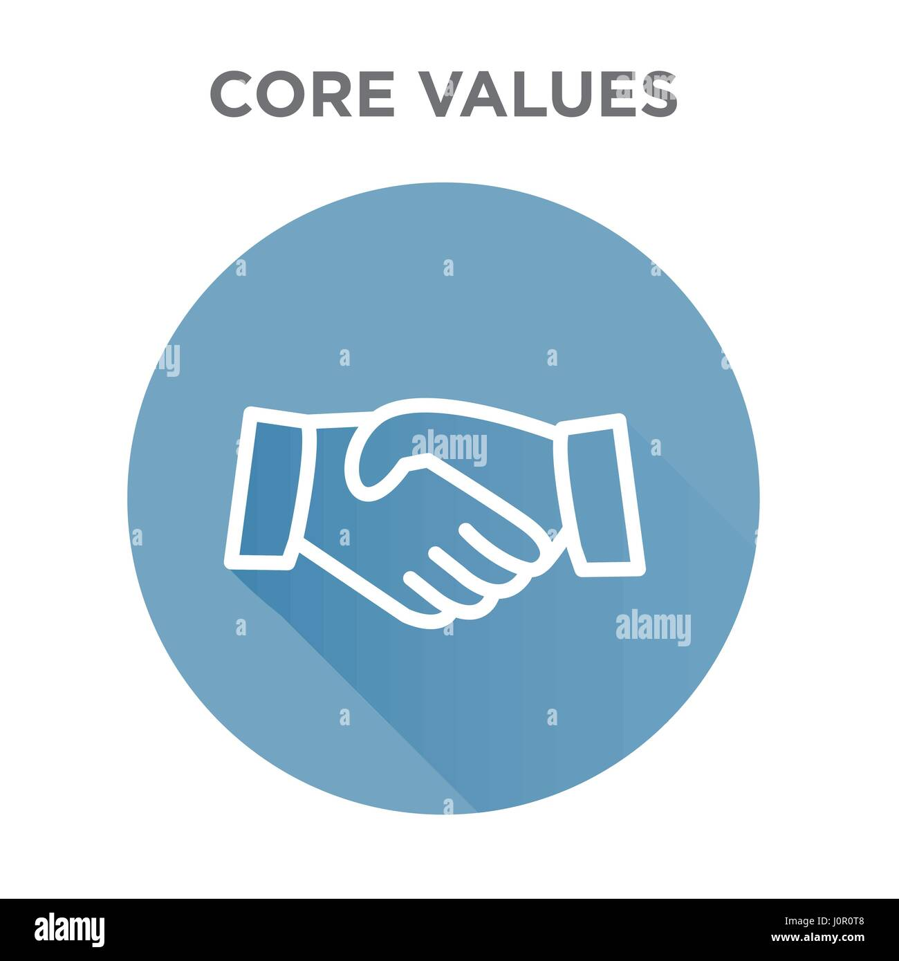 Core Values Icon with Handshake or Shaking Hands - Stock Vector