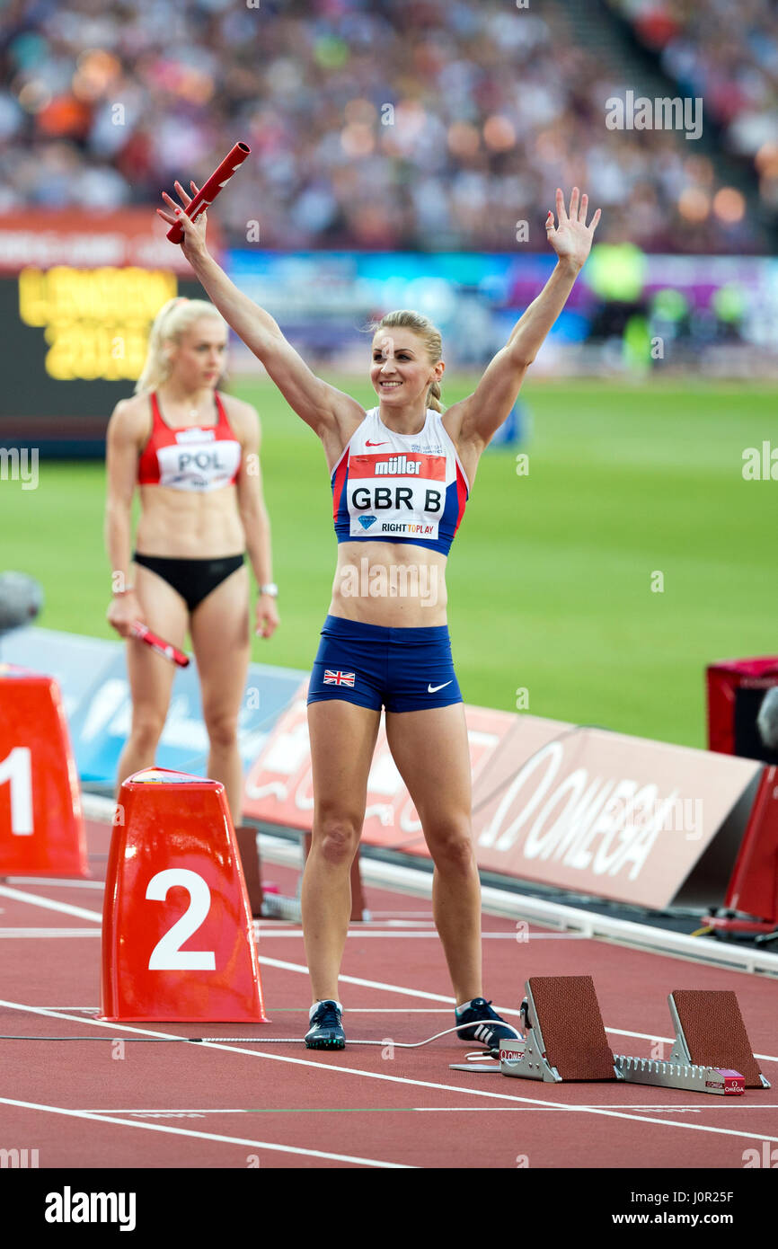 Louise Bloor 1st leg of GBR B Women's 4x100m. 22nd July 2016. London, UK. IAAF Diamond League Anniversary Games - Stock Image
