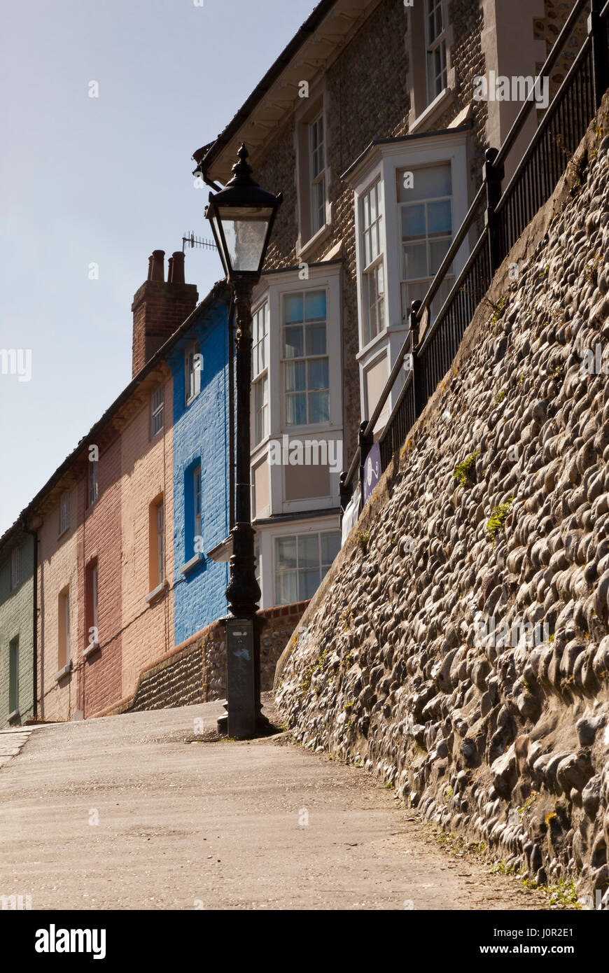 Fisherman's cottages in the Norfolk seaside town of Cromer - Stock Image