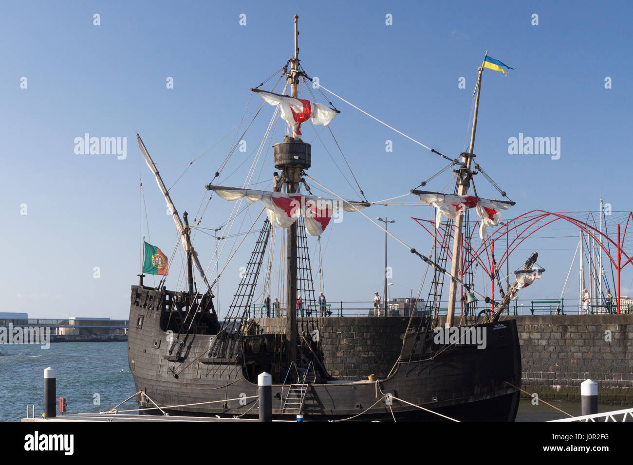Tourists look on as the replica Santa Maria de Colombo is outfitted for a  trip out 120cd950e9e7c