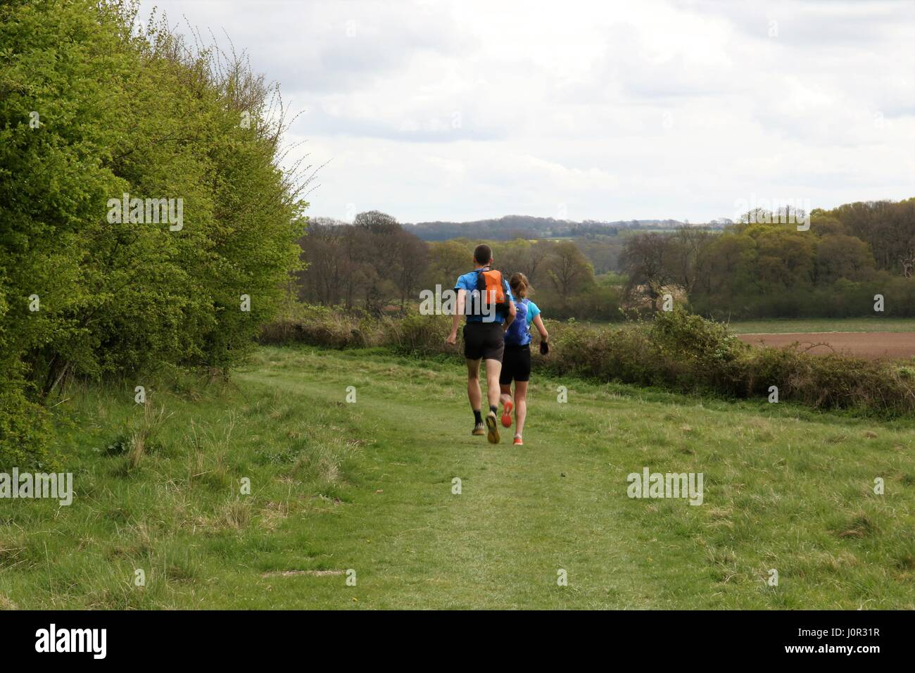 Rear view of two runners running in the open countryside along the South Downs Way in Hampshire - Stock Image