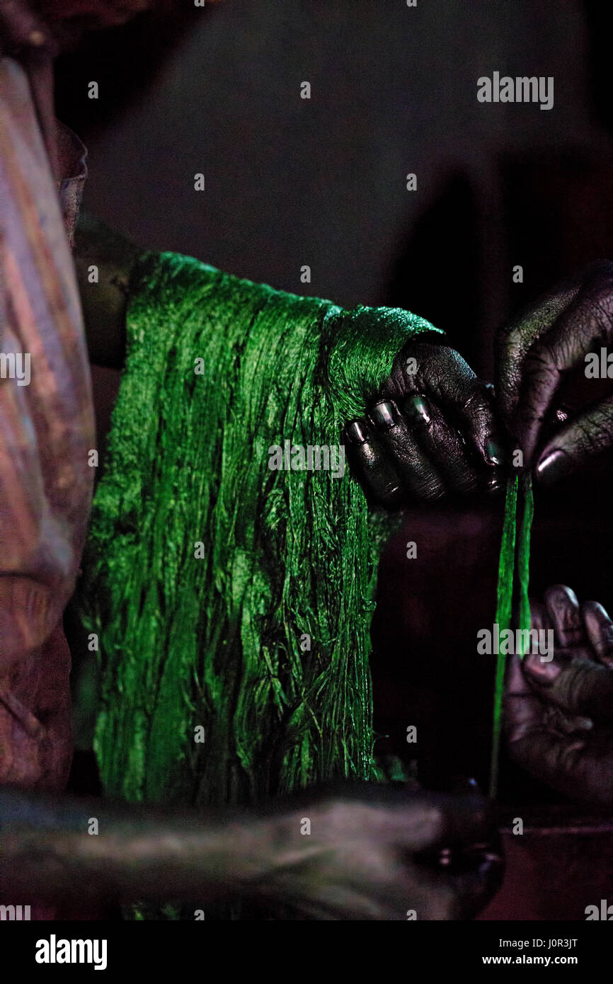 Tannery applying green colour on wool Stock Photo: 138190720