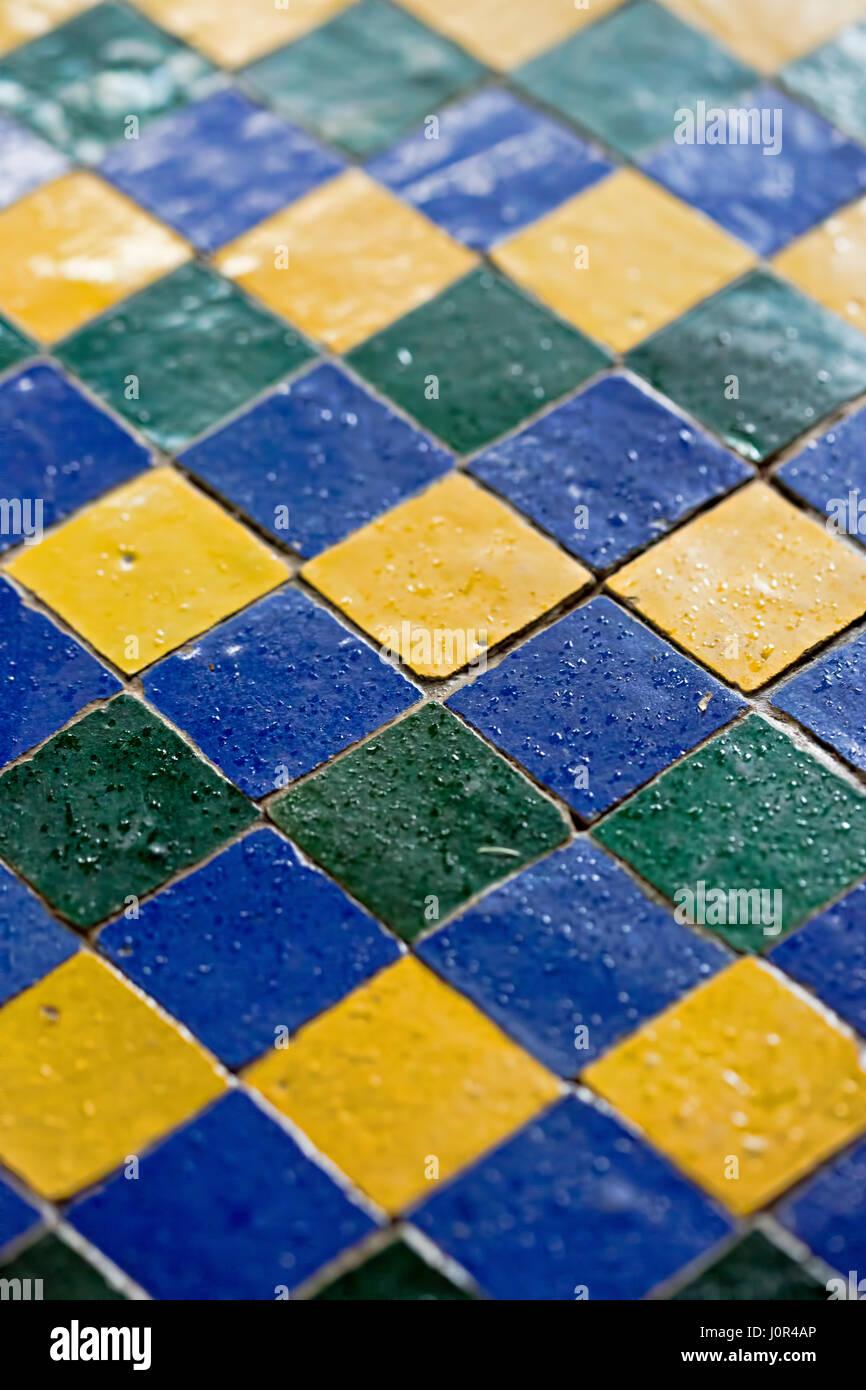 Blue green yellow mosaic tiles Stock Photo